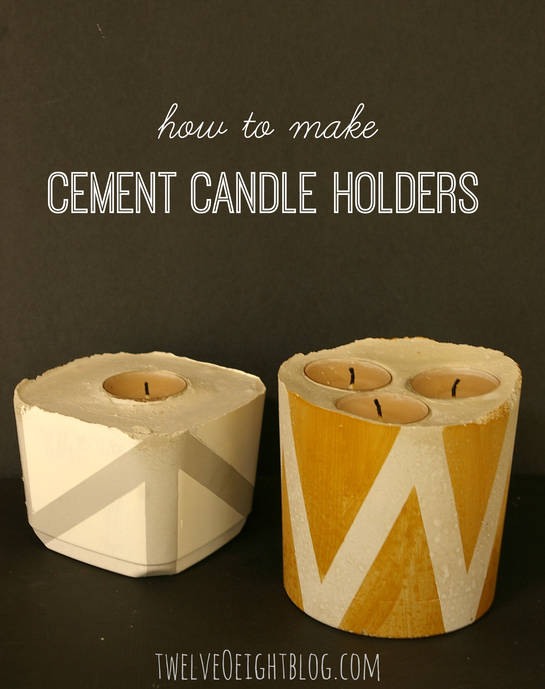 Diy concrete candle holders for Log candle holder how to make