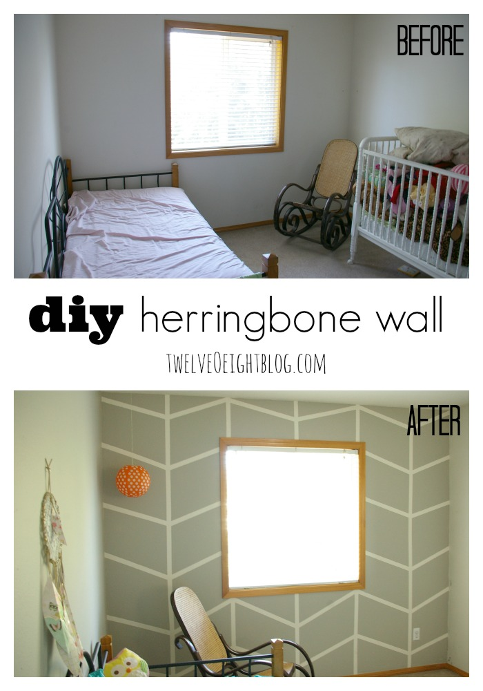 how to paint a herringbone wall