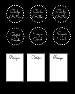 Printable labels for body scrub
