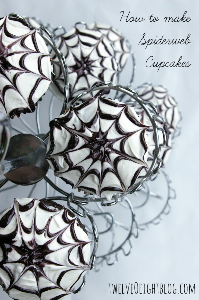 How To Make Spiderweb Cupcakes via twelveOeightblog.com