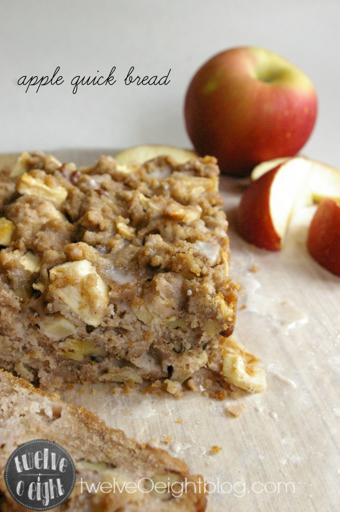 Apple Quick Bread Recipe via twelveOeightblog.com #quickbread #bread #holidaybread #applebread