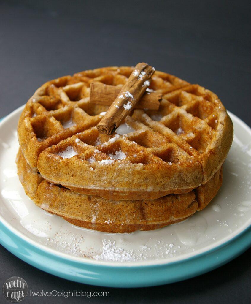 Cinnamon Roll Waffle Recipe twelveOeightblog.com #WaffleRecipe #CinnamonRoll #GlutenFree #twelveOeightblog