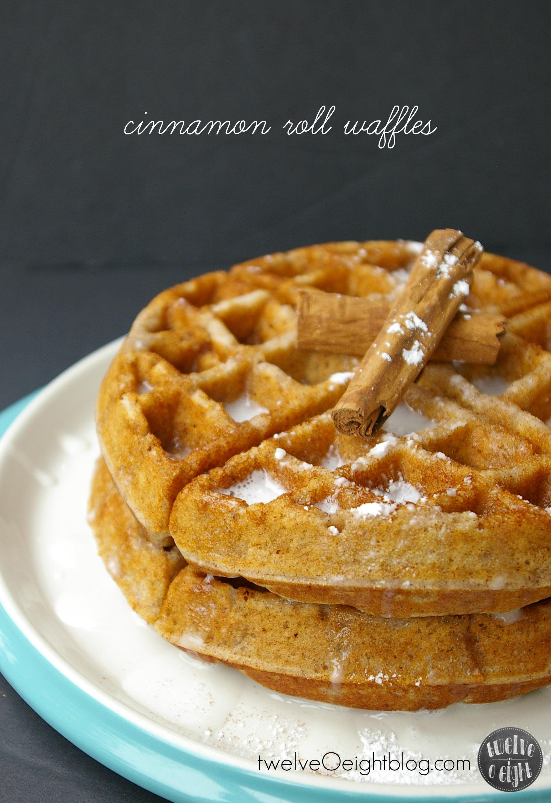Cinnamon Roll Waffles twelveOeightblog.com #CinnamonRoll #Waffle # ...