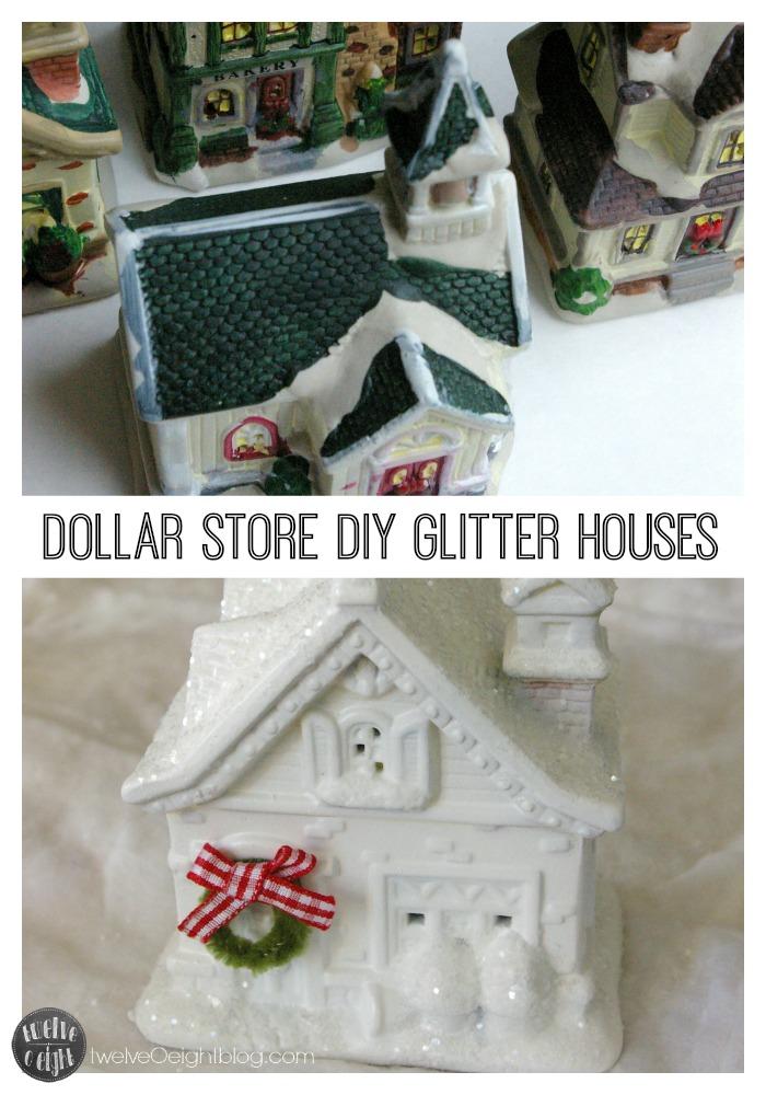Dollar Store Christmas Glitter Houses twelveOeightblog.com #dollarstore #Christmas #diy #twelveOeightblog