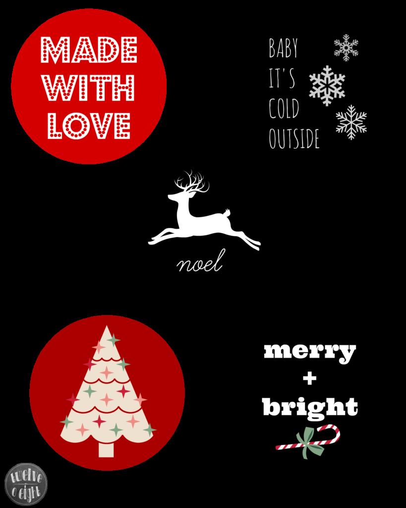 Free Printable Christmas Gift Tags twelveOeightblog.com #Christmas #gifttags #freeprintable #printablegifttag #moderngifttag