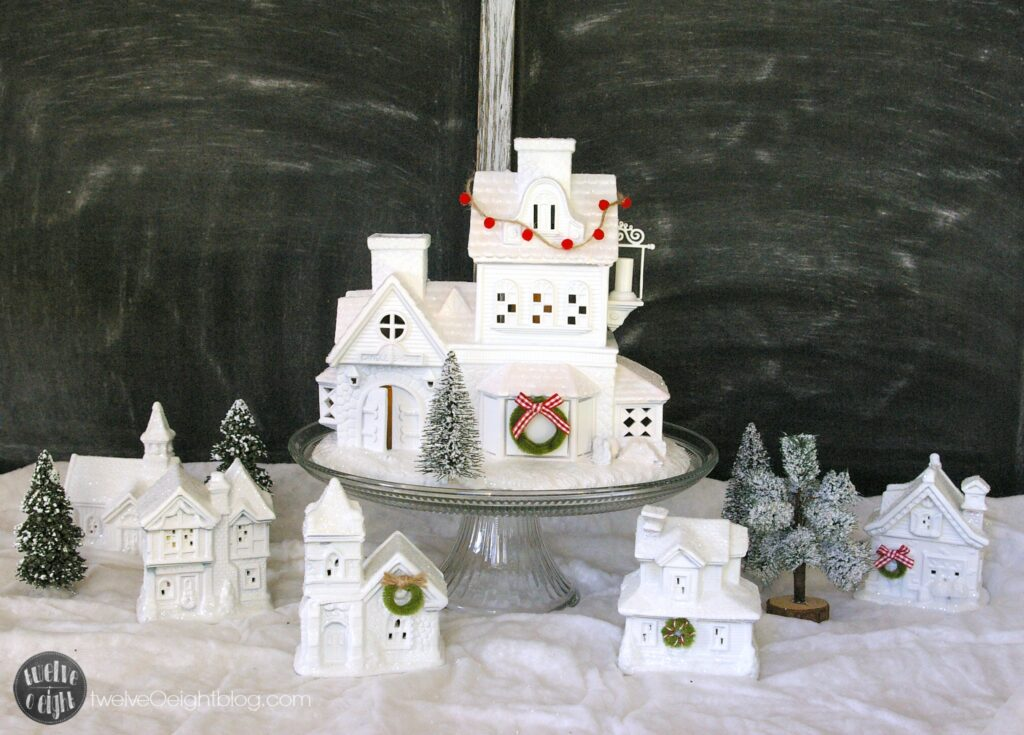How to make a Christmas Village #glitterhouses #putz #ChristmasVillage #diy #twelveOeightblog