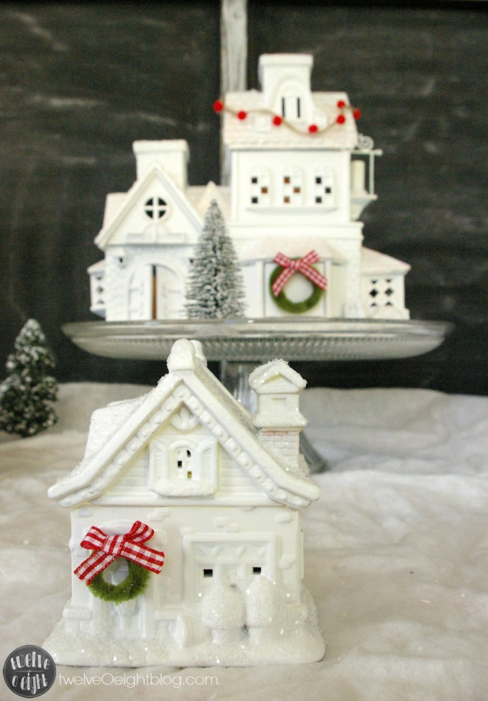 How to make glitter houses twelveOeightblog.com #glitterhouse #putz #dollarstore #Christmas #diy #twelveOeightblog