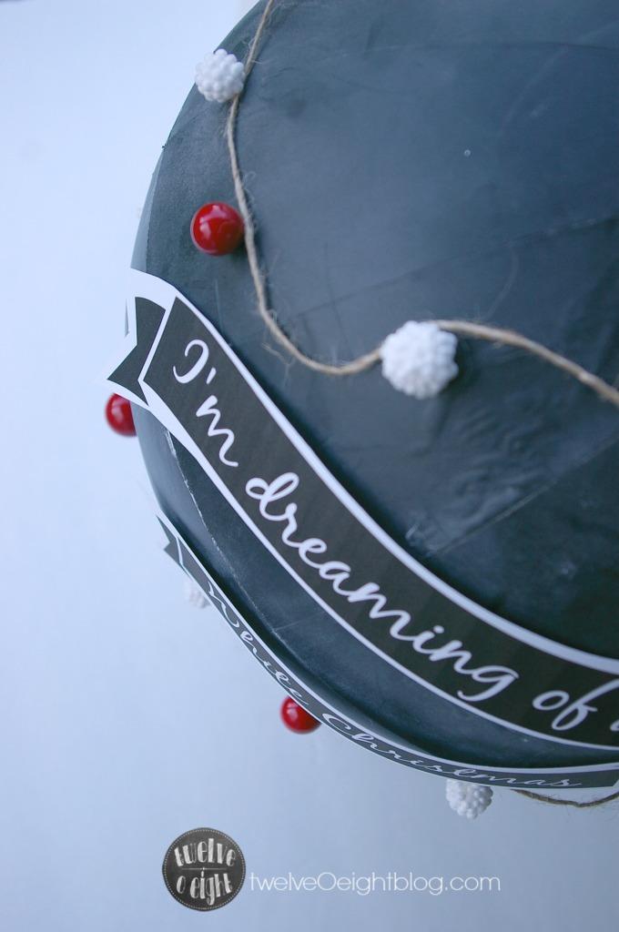 How to paint a Chalkboar Globe #diy #twelveOeightblog #knockoff #diychalkboard #chalkboardglobe