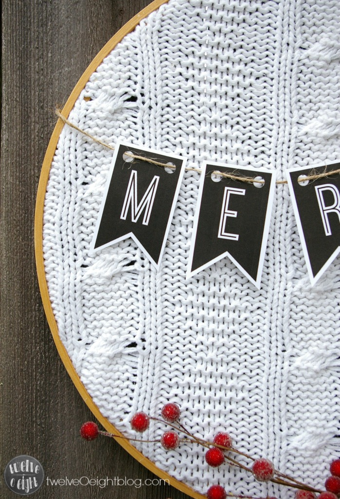 Upcycled Embroidery Hoop Wreath twelveOeight.com #embroideryhoop #wreath #diy #Christmas #freeprintable #sweaterwreath #upcycle #twelveOeightblog