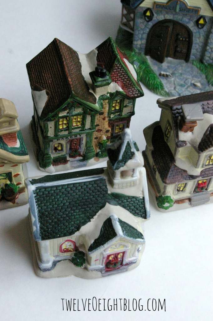 glitter Christmas houses before