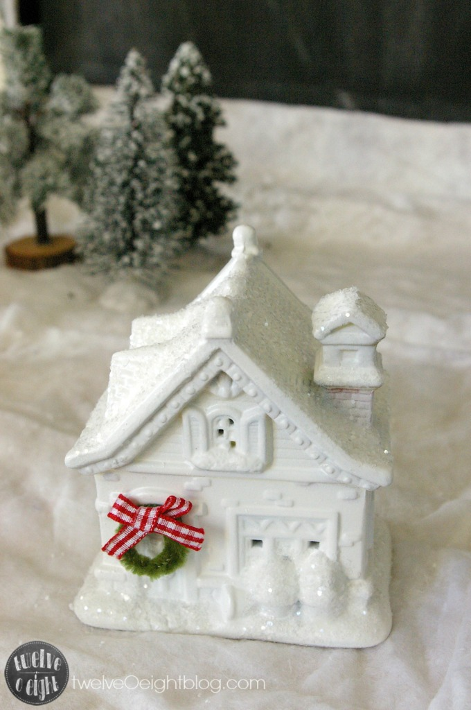 How to make a glitter house dollar store twelveOeightblog.com #glitterhouse #Christmas #diy