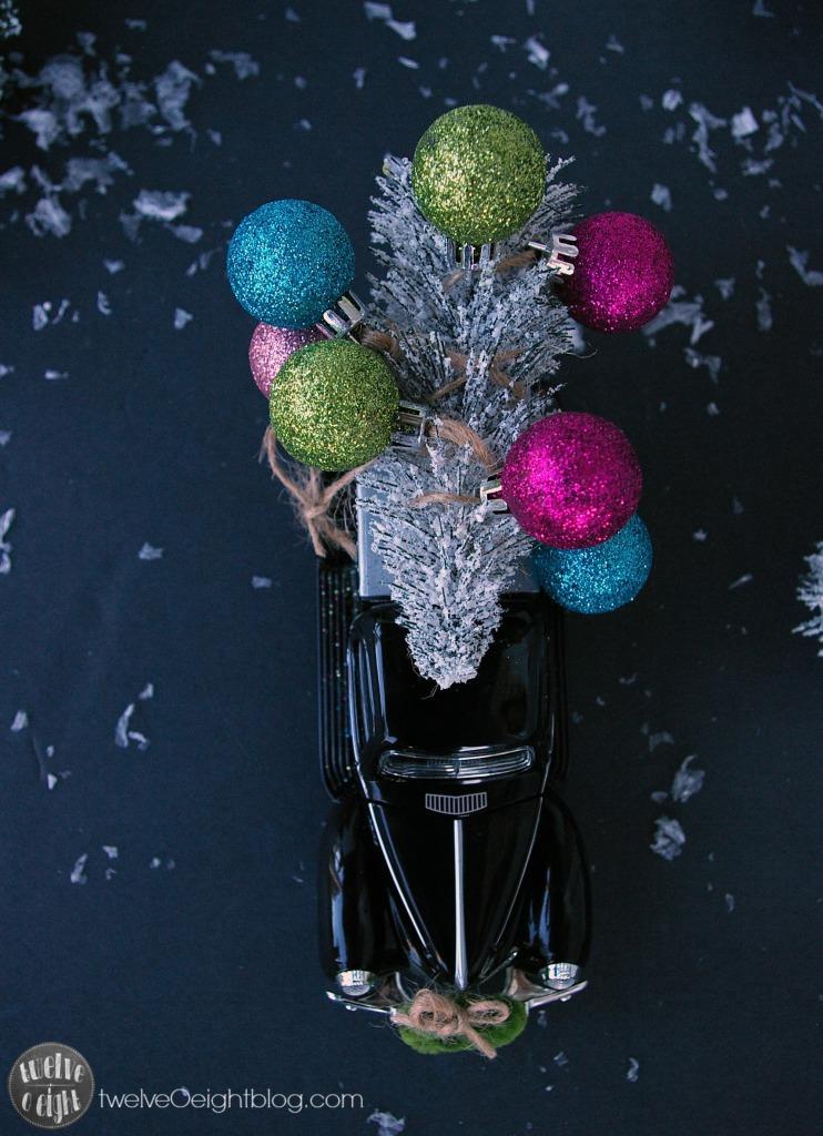 Trees on Cars twelveOeightblog.com #TreesOnCars #Christmas #DIY #VintageChristmas #twelveOeightblog