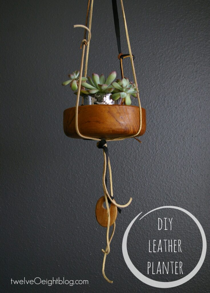 DIY Leather Planter twelveOeightblog.com #leatherplanter #modernplanter #DIYplanter #twelveOeightblog