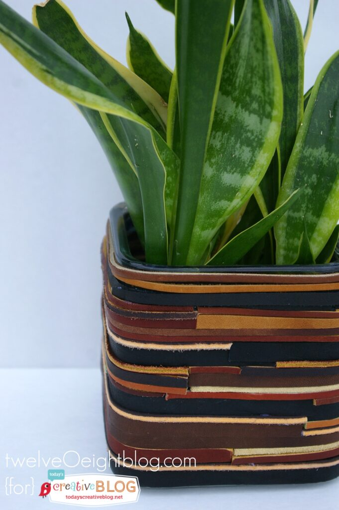 DIY Leather Wrapped Planter 3