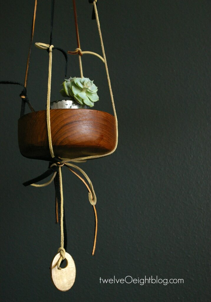 DIY Leather and Wood Planter twelveOeightblog.com #diy #leathercraft #wood #upcycle #modernhome #boho #bohemian #twelveOeightblog