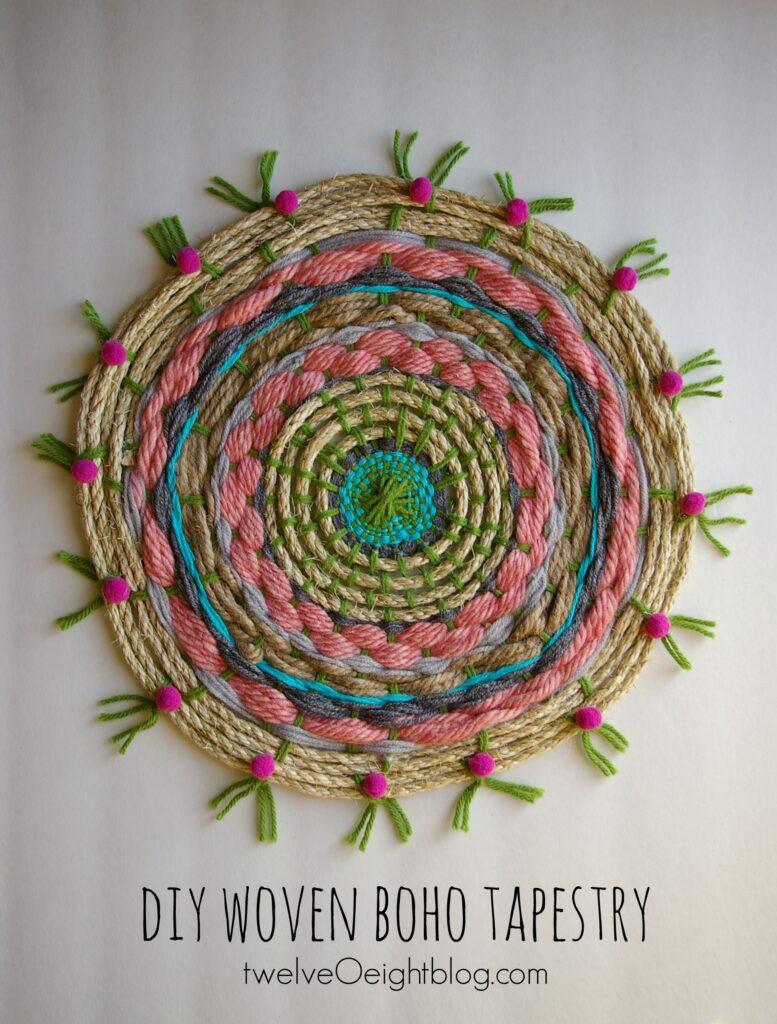 DIY woven boho tapestry twelveOeightblog.com #boho #bohemian #diy #weaving #howtoweave #loom #twelveOeightblog