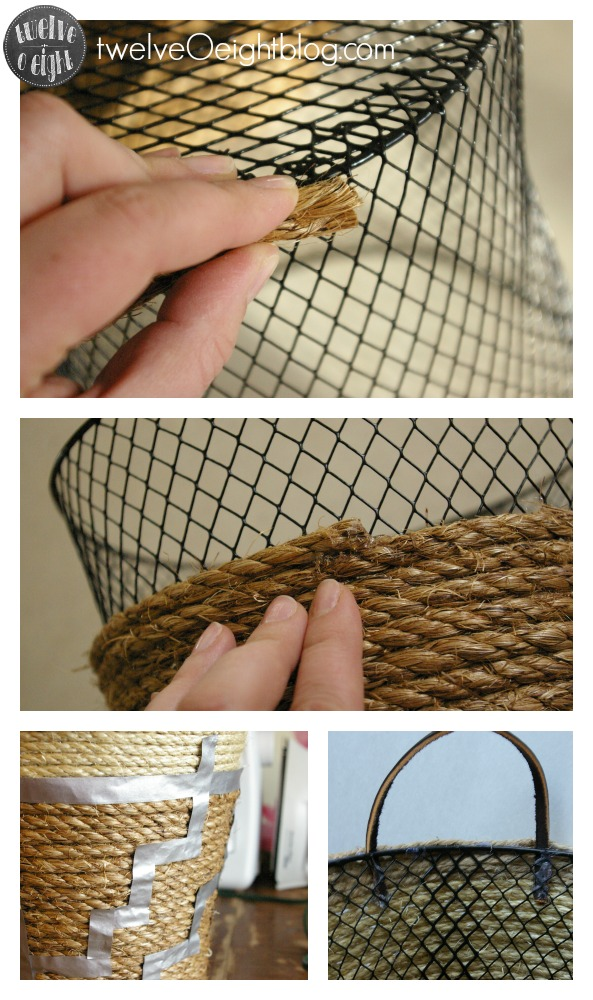How to make a rope basket twelveOeightblog.com #ropebasket #diy #anthro #anthropologie #knockoff #twelveOeightblog