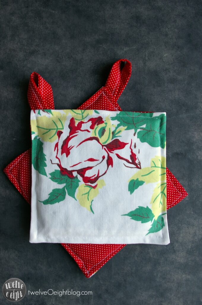 How to make upcycled potholders twelveOeightblog.com #potholder #upcycled #sewing #diy #twelveOeightblog