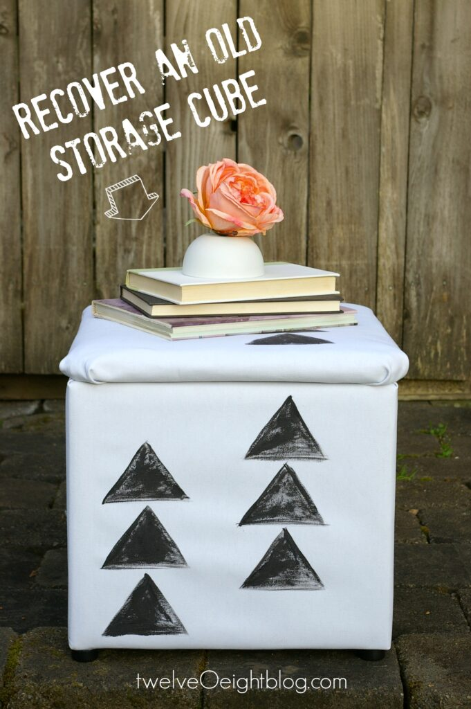 How to recover an old storage cube twelveOeightblog #recover #diy #painted #ottoman #footstool