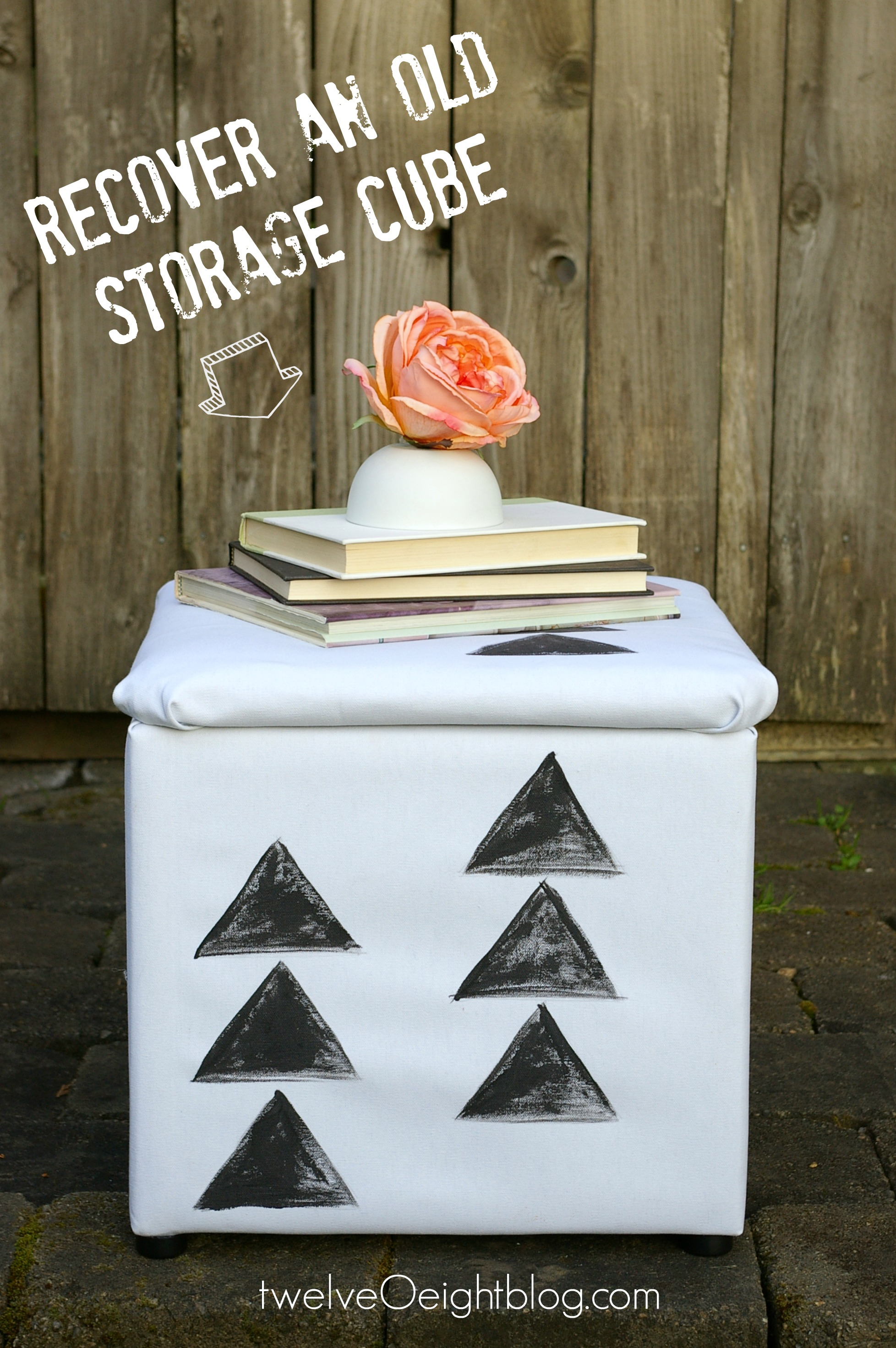 How to recover an old storage cube twelveOeightblog #recover #diy #painted #ottoman & DIY Painted Canvas Pouf-Storage cube-Footstool