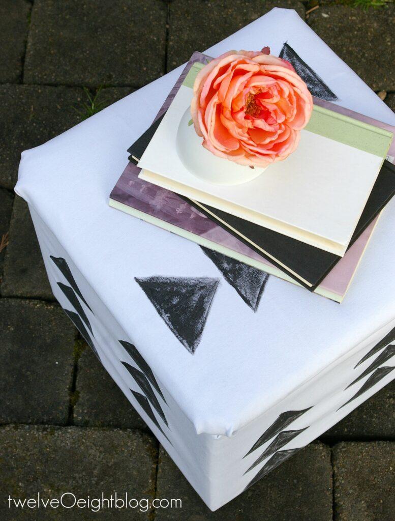 Modern DIY painted storage cube footstool pouf twelveOeightblog.com