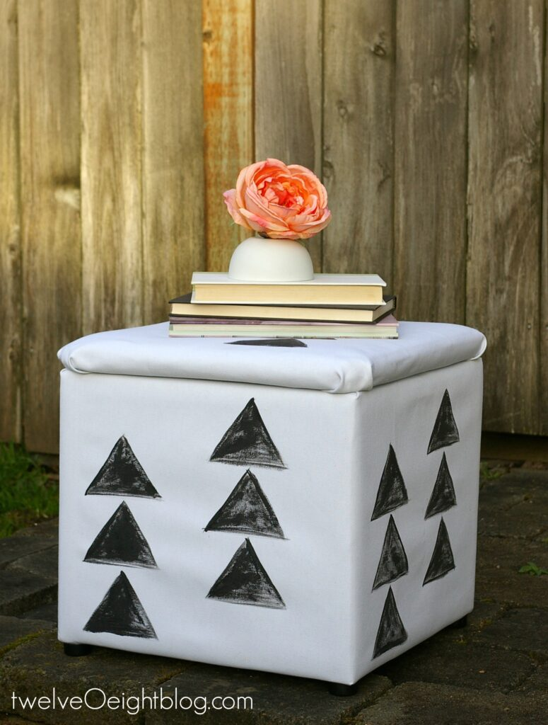 Recover storage cube footstool ottoman twelveOeightblog.com #recover #furniture #modern #diy #pouf #footstool