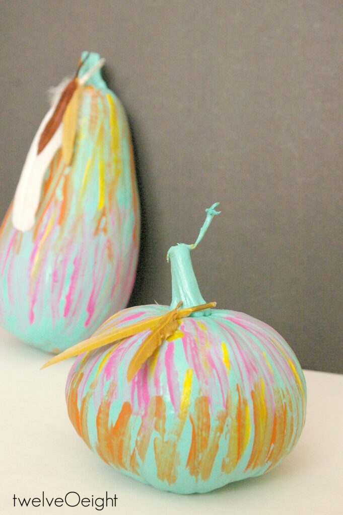 Brushstroke painted boho pumpkins #pumpkin #fall #brushstroke #diy #twelveOeight