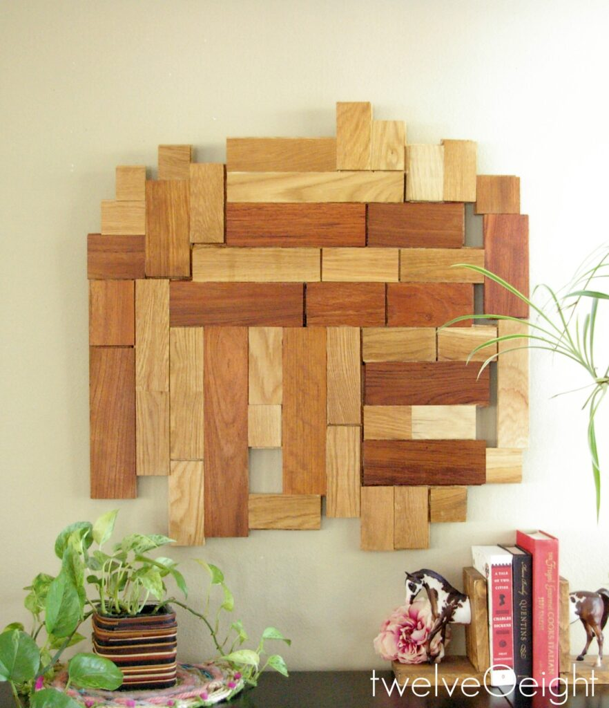 DIY Modern Wood Wall Hanging #DIY #wood #wallart #modern #recycle #twelveOeight