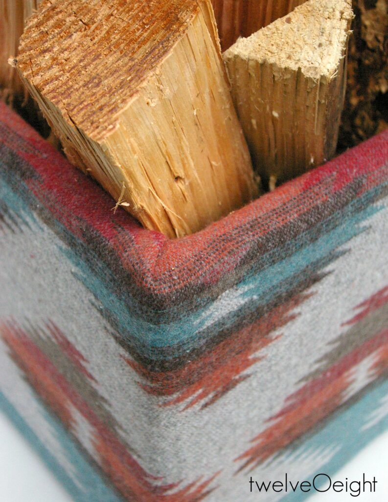 DIY Navajo Firewood Basket #twelveOeight #Navajo #boho #DIY #Winter