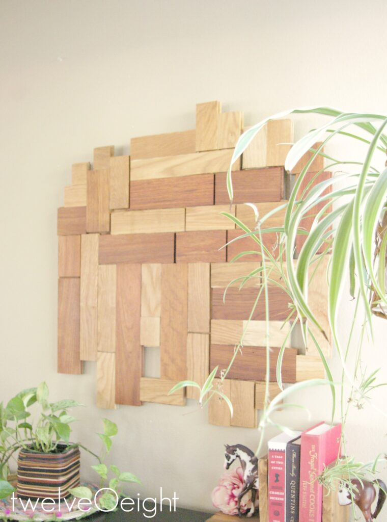 DIY Wood Wall Hanging #DIY #Wood #Modern #HomeDecor #recycle #twelveOeight