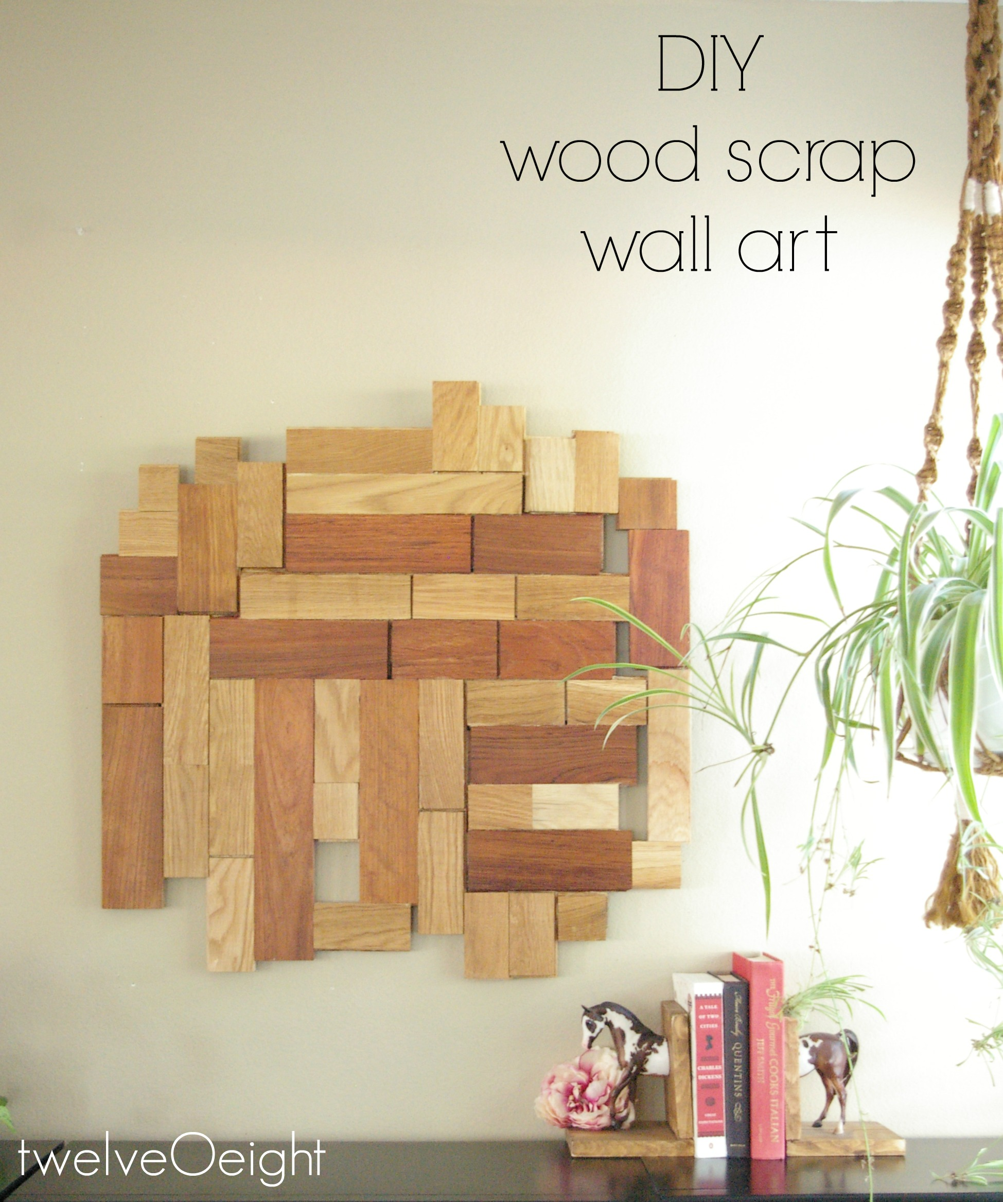 Wood Scrap Wall Art Project #diy #wood #upcycle #recycle #wallart #