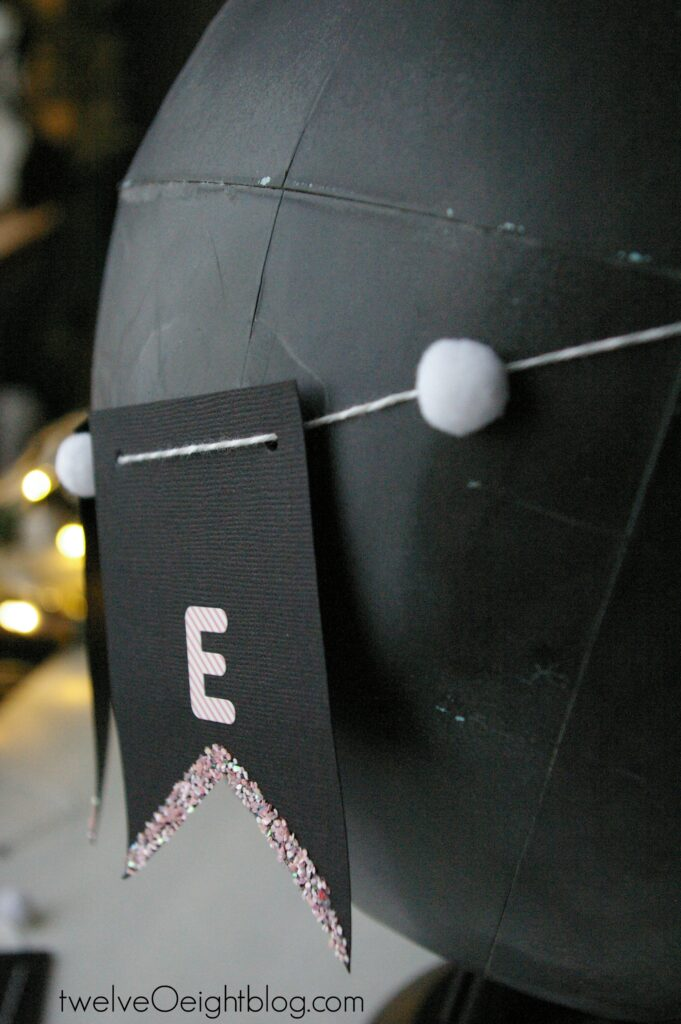Chalkboard globe and Be Mine Valentine Banner #twelveOeight #diy #banner #chalkboard #paint #Valentine