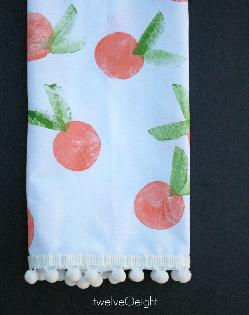 Hand Stamped Clementine Tea Towel #diy #handstamp #twelveOeight #paint