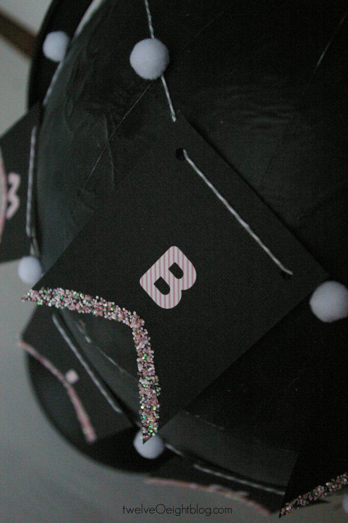 Valentine Banner and Chalkboard globe #diy #valentine #banner #twelveOeight