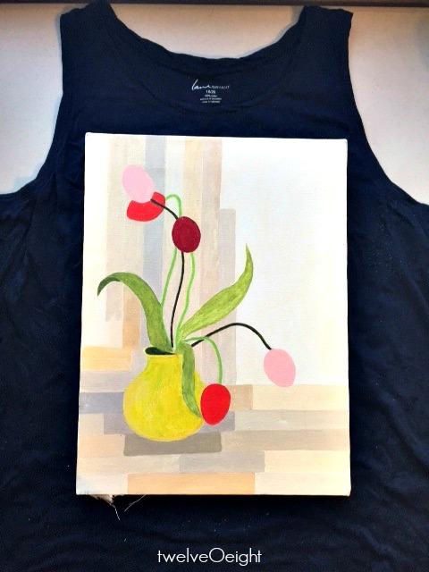 DIY recycled t shirt wall art twelveOeight
