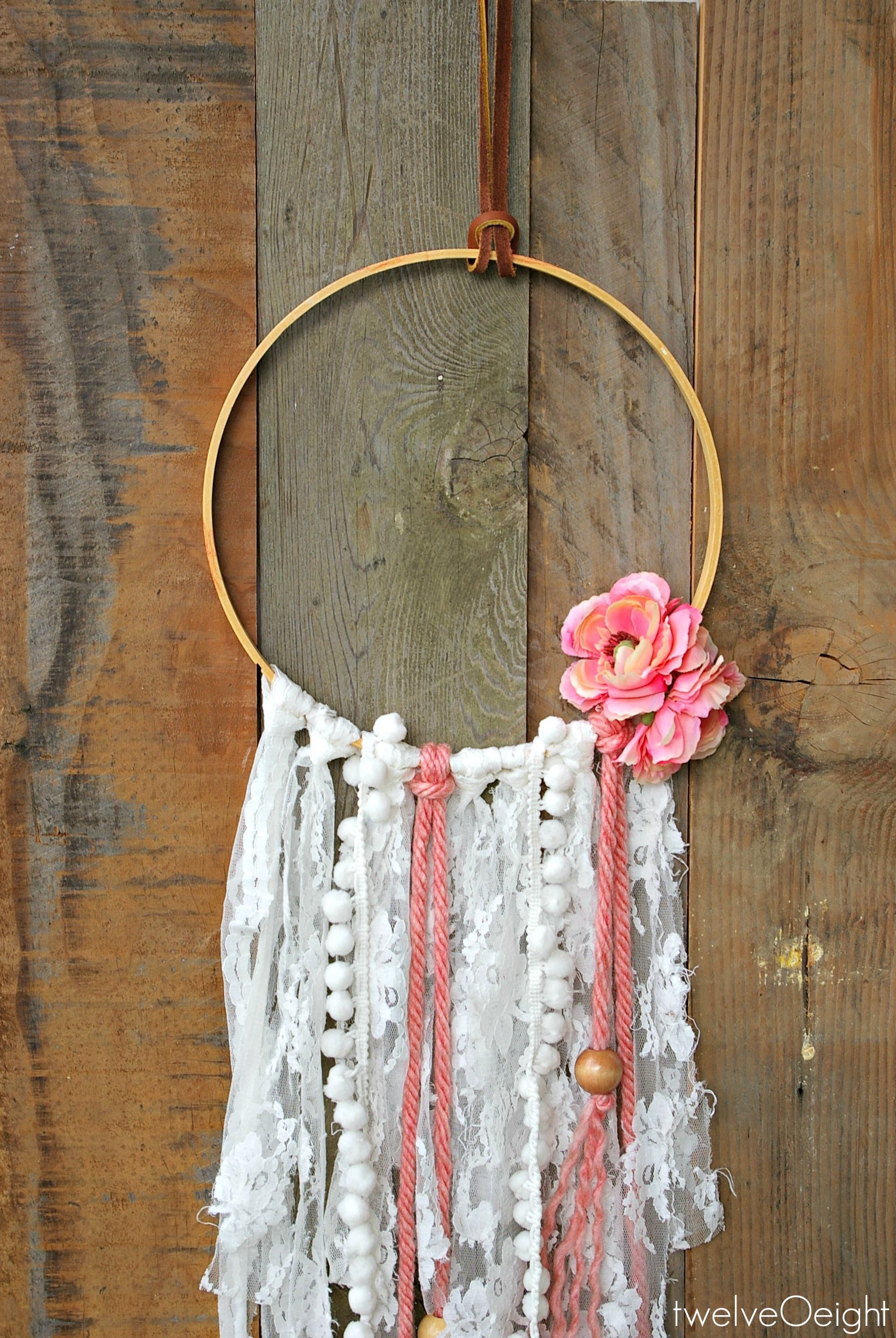 Leather and lace diy boho dream catcher boho diy for How to make a dreamcatcher with pictures