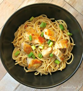 Peanut Noodles with Chicken #pastarecipes #glutenfree #gf #twelveOeight #howtomakepeanutsauce