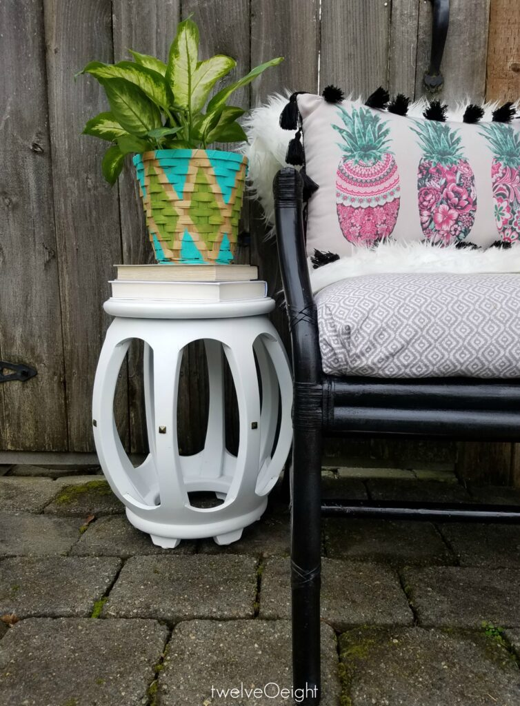 Painted garden stool #diy #twelveOeight