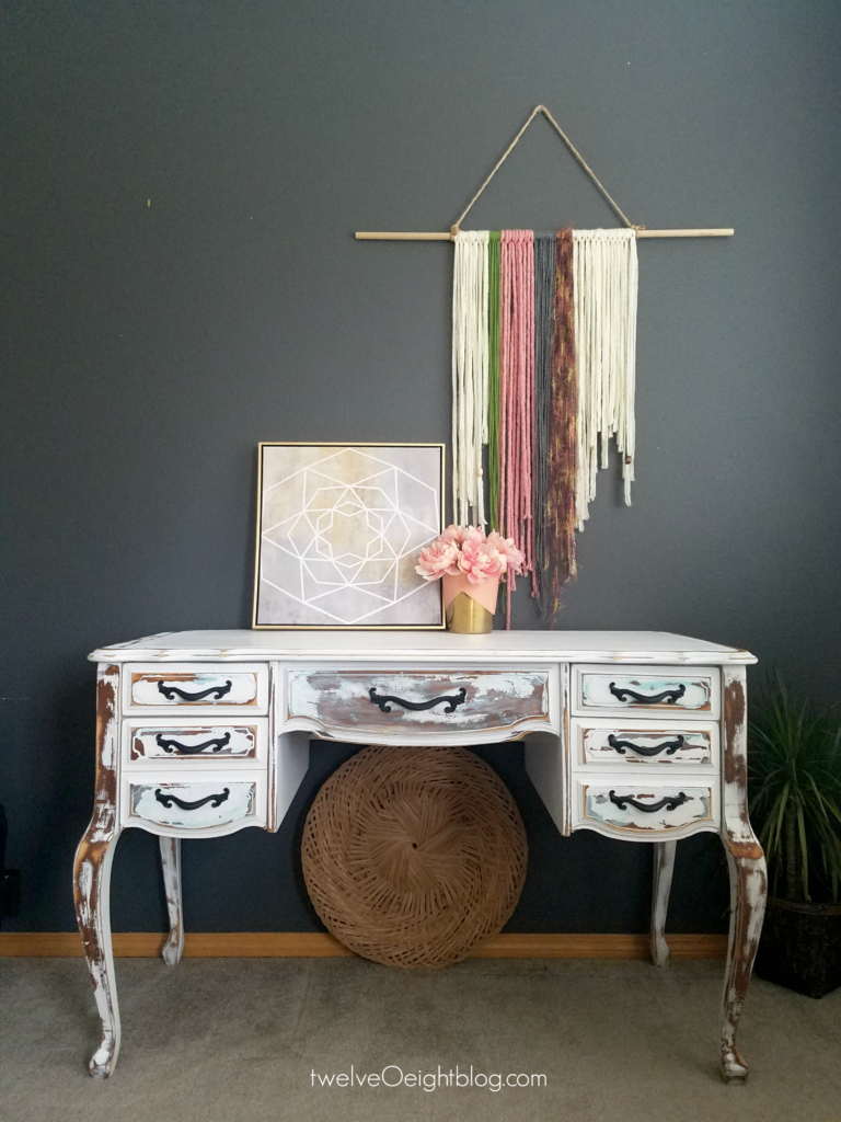 shabby sewing table turned into a desk