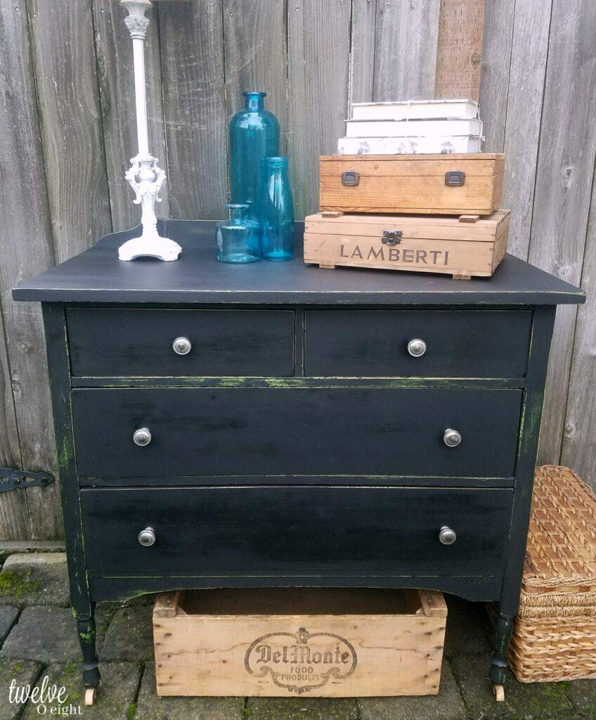 distressed black dresser before after