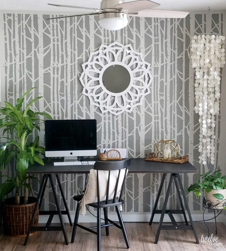 #diyhomedecor #fauxwallpaper #accentwall #homeoffice #bohomodern #twelveOeight #stencilrevolution