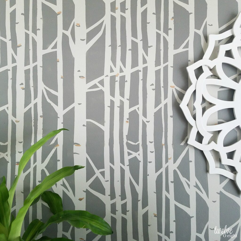 #fauxwallpaper #diy #twelveOeight #stencilrevolution #accentwall #bohomodern