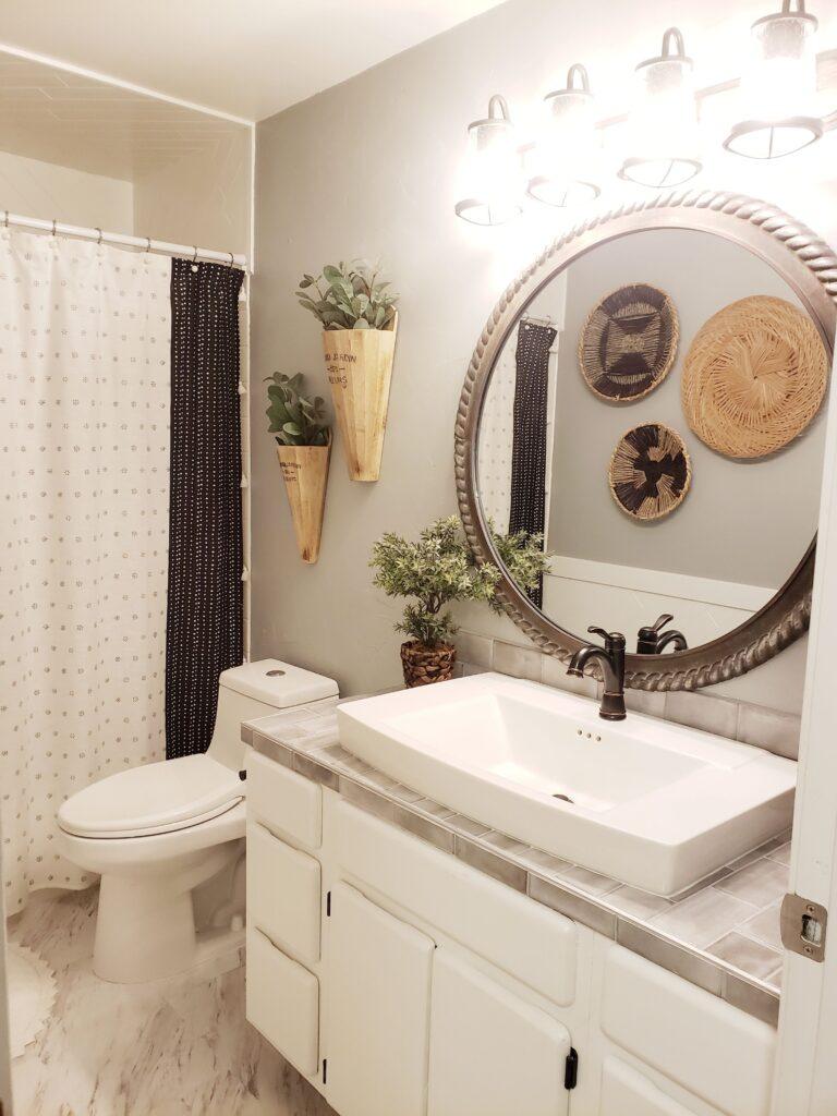 Modern boho farmhouse bathroom before and after